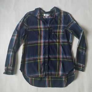 Old Navy colorful plaid flannel button down top